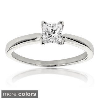 Luxurman 14k White Gold 2/5ct TDW Solitaire Diamond Ring (H-I, SI1-SI2)
