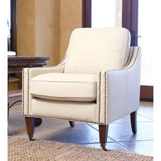 ABBYSON LIVING Monica Pedersen Ivory Leather Armchair