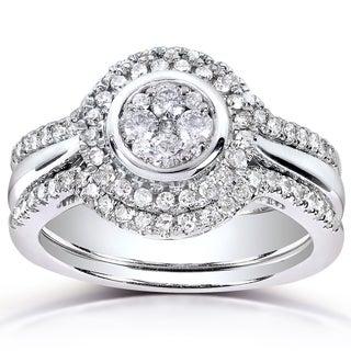 Annello 10k White Gold 1/2ct TDW Diamond 3-piece Bridal Ring Set (H-I, I1-I2)