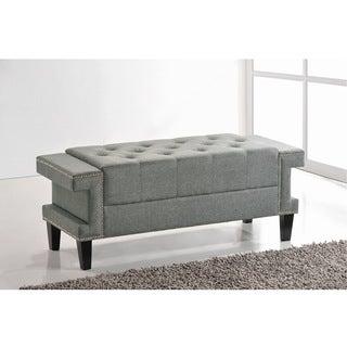 Baxton Studio Alfie Grey Linen Modern Tufted Bench