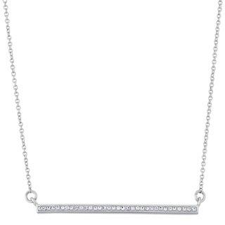 Fine Silver Plate Swarovski Crystal Straight Row Trapeze Necklace