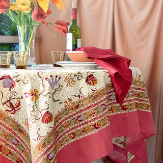 Fleurs des Indes Square Cotton Tablecloth