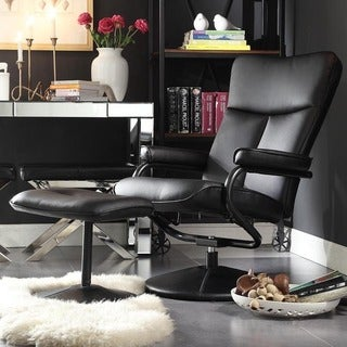 TRIBECCA HOME Olivia Bonded Leather Swivel Recliner Chair with Ottoman