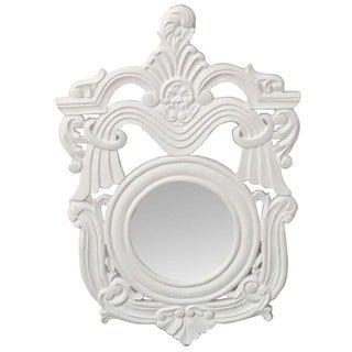 Hand-chiseled White Decorative Wall Mirror (India)