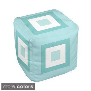 18 x 18-inch Multi Box-print Decorative Pouf