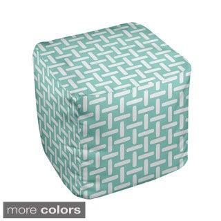 18 x 18-inch Two-tone Large Basket Weave Print Decorative Pouf
