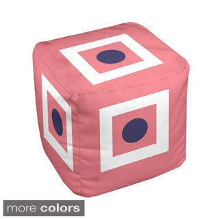 18 x 18-inch Box and Dot Print Geometric Decorative Pouf