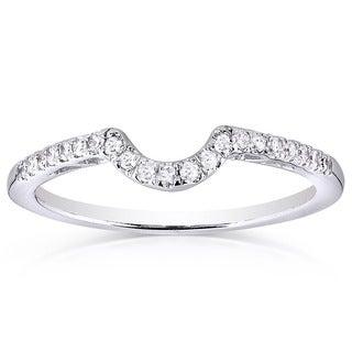 Annello 10k White Gold 1/6ct TDW Curved Diamond Wedding Band (H-I, I1-I2)