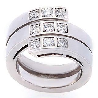 Pre-owned Cartier 18k White Gold 3/4ct TDW Diamond Cross Over Estate Ring (D-F, VS)