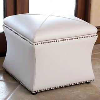 ABBYSON LIVINGMonica Pedersen Ivory Leather Storage Ottoman by