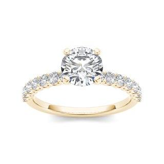 De Couer 14k Yellow Gold 1ct TDW Diamond Engagement Ring (H-I, I1-I2)