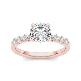 De Couer 14k Rose Gold 3/4ct TDW White Diamond Engagement Ring (H-I, I2)