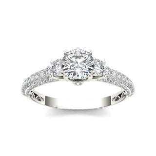 De Couer 14k White Gold 1 1/2ct TDW Diamond Three-stone Anniversary Ring (H-I, I2)