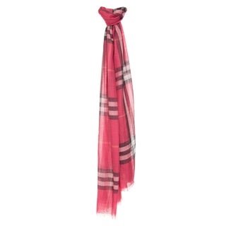 Burberry Rose Pink Giant Check Wool/ Silk Wrap Scarf
