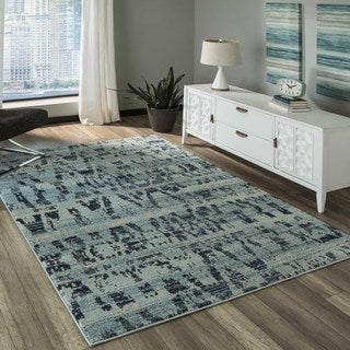 'Casa 4' Ocean Blue Area Rug (5'3 x 7'6)