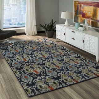 'Casa 2' Navy and Multicolored Abstract Geometric Rug (9'3 x 12'6)