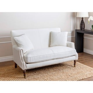 ABBYSON LIVING Monica Pedersen Ivory Linen Nailhead Settee with Pillows