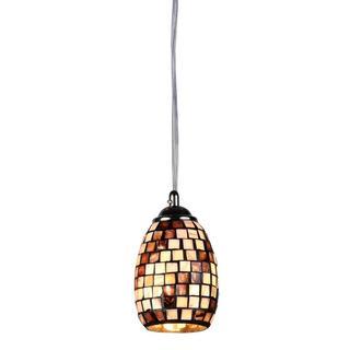 Glass/ Seashell Mosaic 1-light Chrome Pendant