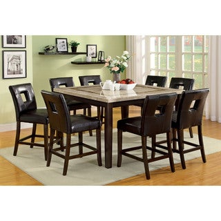 Furniture of America Charisole 9-piece Genuine Marble Counter Height Dining Set