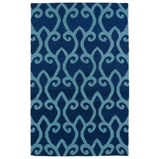 Hollywood Navy Scroll Flatweave Rug (9'0 x 12'0)