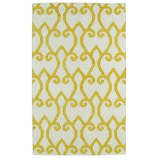 Hollywood Yellow Scroll Flatweave Rug (9'0 x 12'0)