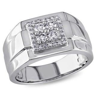 Miadora 10k White Gold 1/2ct TDW Diamond Men's Square Ring (G-H, I1-I2)
