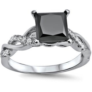 Noori 14k White Gold 1 1/3ct TDW Black Princess-cut Diamond Engagement Ring (VVS1-VVS2)