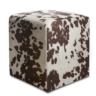 Brown Cowprint Textured Velvet Square Ottoman