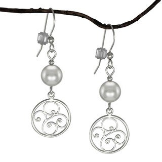 Jewelry by Dawn Sterling Silver Grey Pearl Round Filigree Dangle Earrings