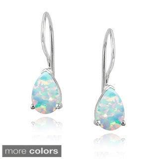 Glitzy Rocks Sterling Silver Created Opal Teardrop Earrings