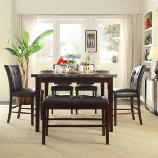 TRIBECCA HOME Colyton Black Brown Marble Top 6-piece Counter Height Dining Set