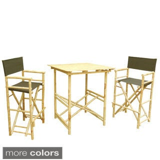 Phat Tommy Tall Foldable Bistro Square Table 3-piece Dining Set