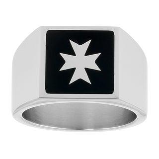 Stainless Steel Black Resin Maltese Cross Design Ring