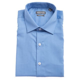 Kenneth Cole Men's Reaction Blue Textured Striped Dress Shirt