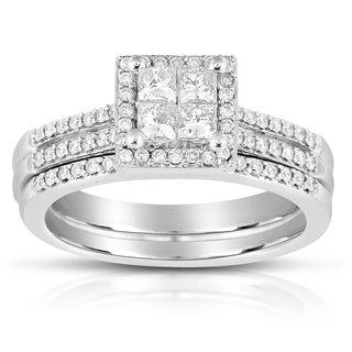 Eloquence 10k White Gold 3/4ct TDW Diamond Bridal Ring Set (K-L, SI1-SI2)