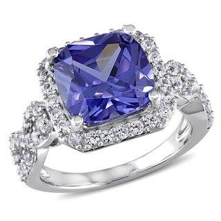 Miadora Sterling Silver Created White Sapphire and Tanzanite Cocktail Ring