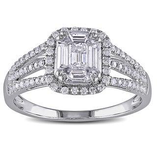 Miadora 18k White Gold 4/5ct TDW Emerald Shape Diamond Ring (G-H, SI1-SI