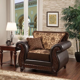 Furniture of America Franchesca Traditional Style Fabric and Leatherette Chair