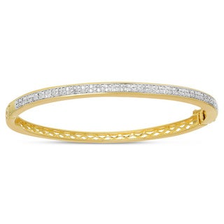Finesque Gold Or Silver Overlay Diamond Accent Bangle