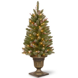 4-foot Glittery Mountain Spruce Entrance Tree with Clear Lights