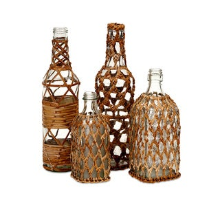 Manitoba Rattan Glass Bottles (Set of 4)