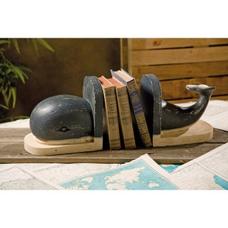 Jonah Wood Carved Whale Bookends