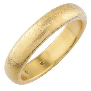 Oro Forte 14k Yellow Gold Matte Finish Scribble Design Bold Bangle