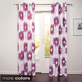 Magnolia Collection Cotton Grommet Floral 88-inch Curtain Panel