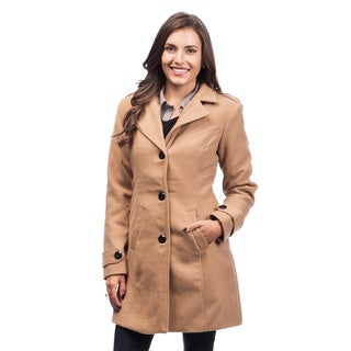 Women's Camel Single Breasted Button-front Coat