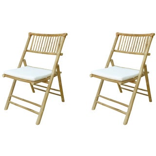 Phat Tommy Folding Bamboo Chair with Cushion (Set of 2)