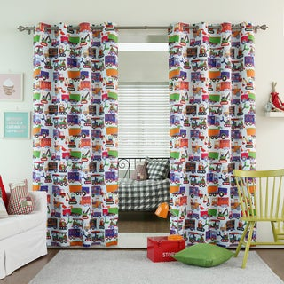 Truck Print Room Darkening Grommet Curtain Panel Pair