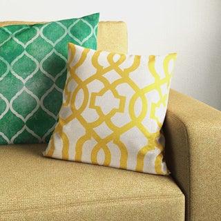 Pillow Perfect Geometric Gold/Linen 16.5-inch Throw Pillow