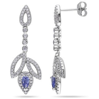 Miadora Sterling Silver Simulated Tanzanite and Cubic Zirconia Earrings