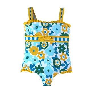 Azul Swimwear Dear Daisy Girls Floral and Striped One-piece Swimsuit